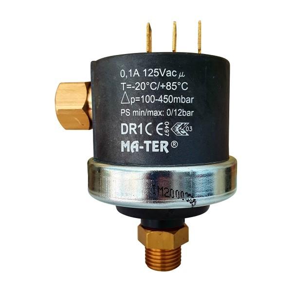 "Mater Differenzdruckschalter DR1 G1/4"" Voreinstellung 400mbar max 125V/AC"