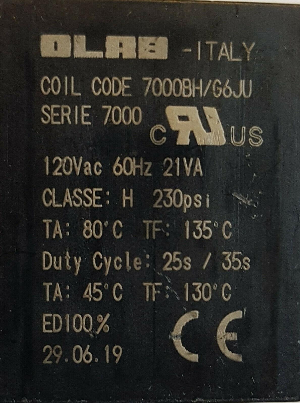 Magnetventil-Spule Olab 7000 24V//DC 19Watt
