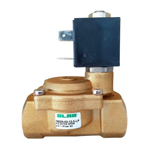 """Olab Magnetventil Messing 1/2"""" 230V-12V-24V 0,1-15bar stromlos geschlossen"""